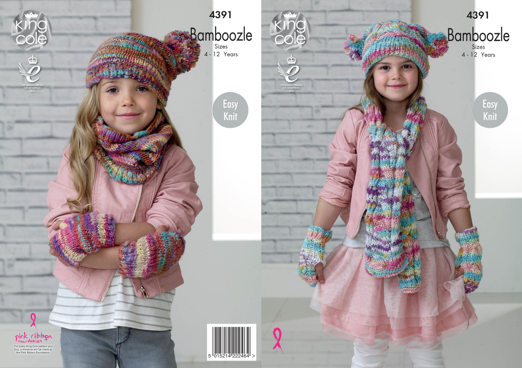 Easy Knit Snood Hat Mittens Scarf Knitting Pattern Kids King Cole ...