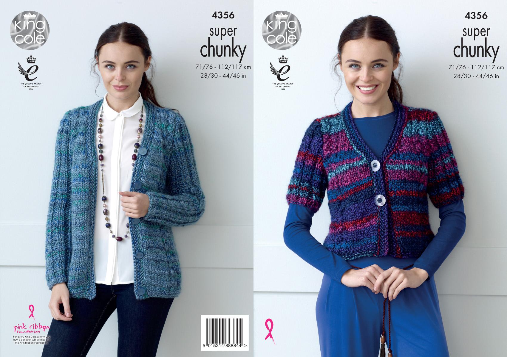 King Cole Ladies Super Chunky Knitting Pattern Short Long Sleeve ...