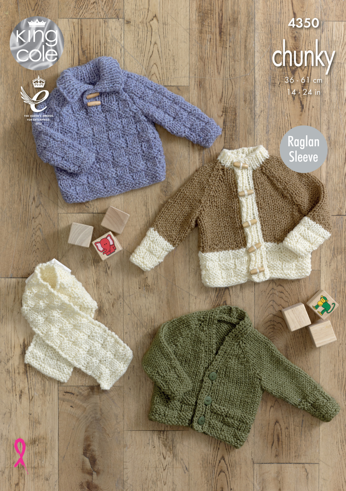 Raglan sleeve jumper cardigan scarf baby knitting pattern king item description this chunky knitting pattern leaflet 4350 by king cole bankloansurffo Gallery