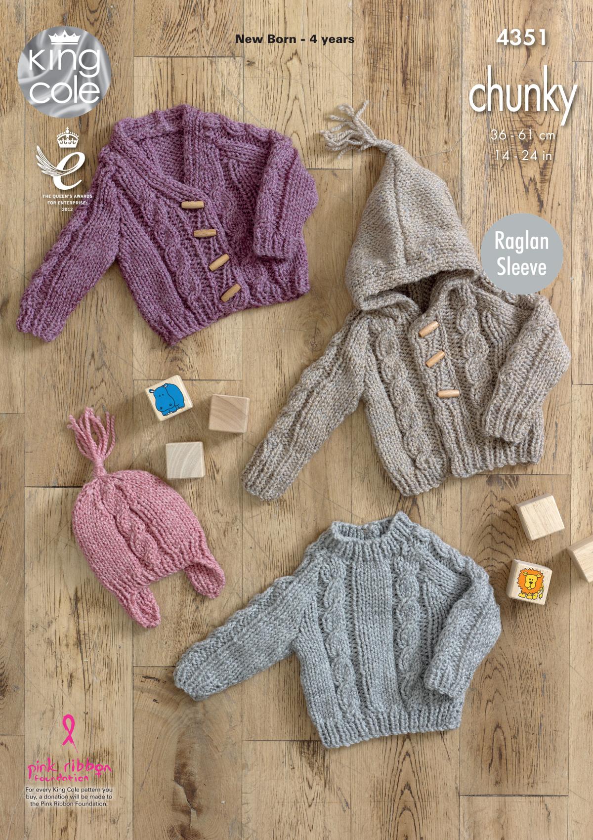 Raglan Sleeve Jumper Cardigans Hat Baby Knitting Pattern King Cole ...