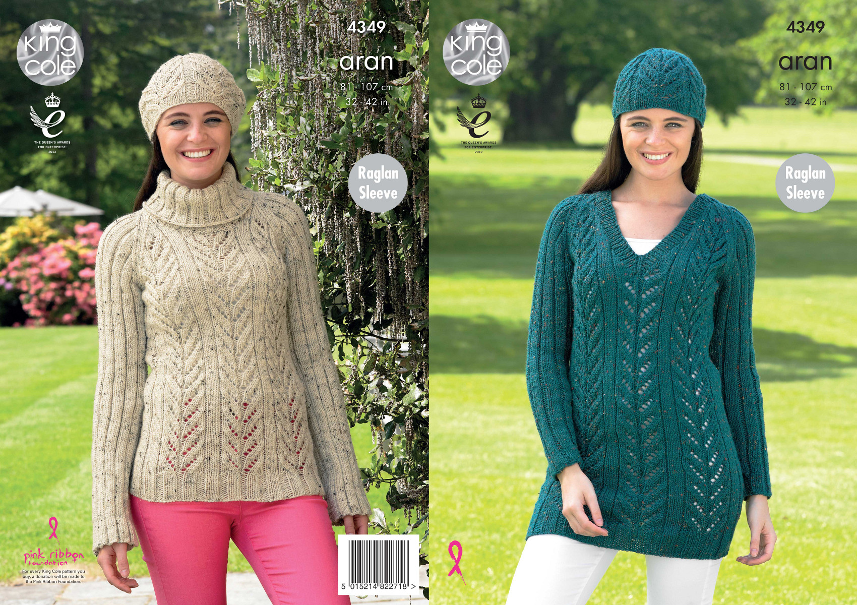 Womens Lace Style Jumper Tunic Hat Knitting Pattern King Cole ...