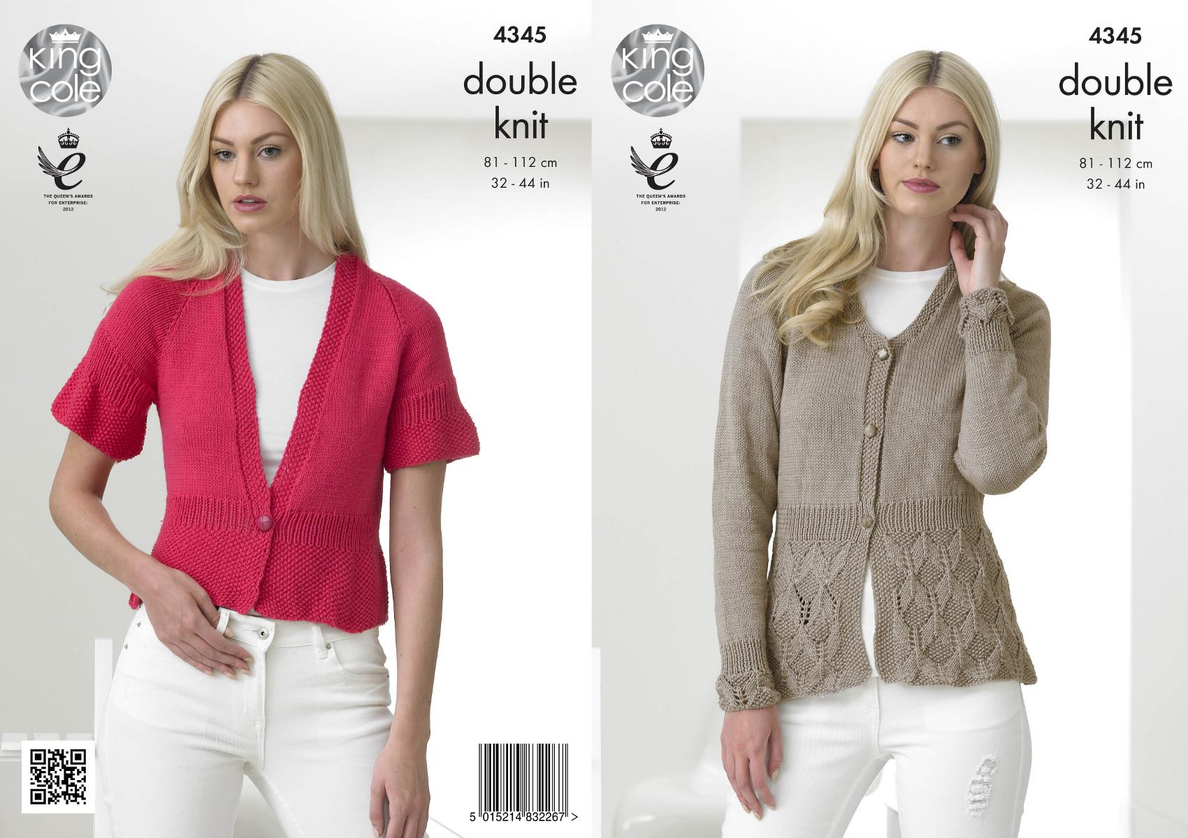 Womens Long Short Sleeve Cardigans Knitting Pattern King Cole ...