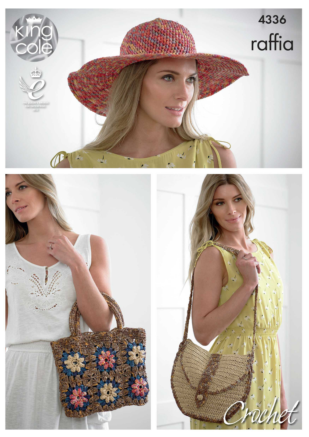 Crochet Pattern King Cole Crocheted Hat Shoulder Square Flower Bag ...
