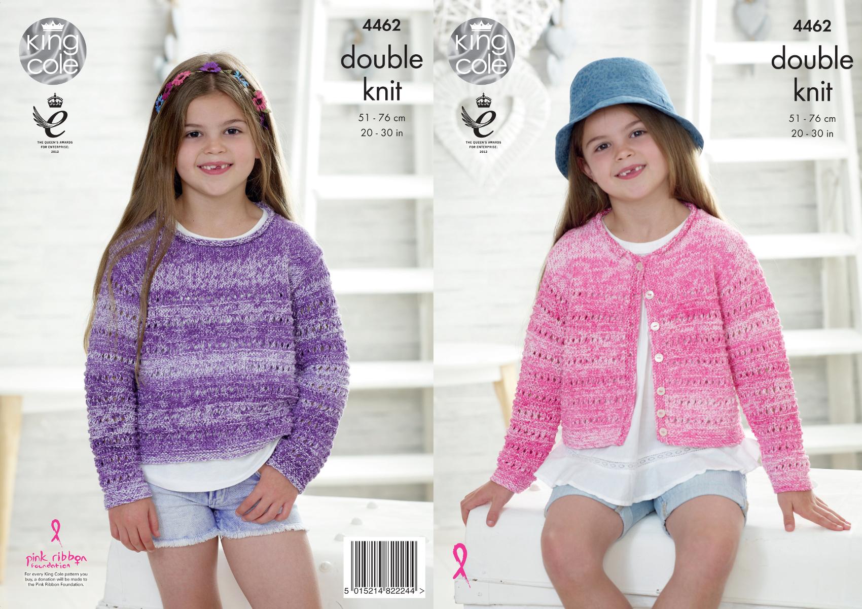 Girls Sweater & Cardigan Double Knitting Pattern King Cole Kids ...