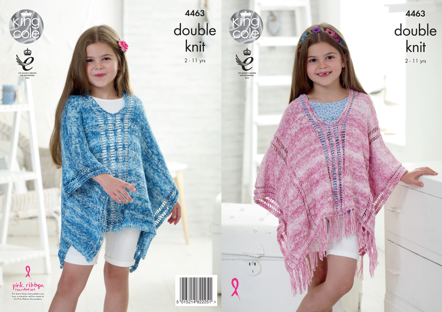 Girls Lace Style Poncho Capes Double Knitting Pattern King Cole ...