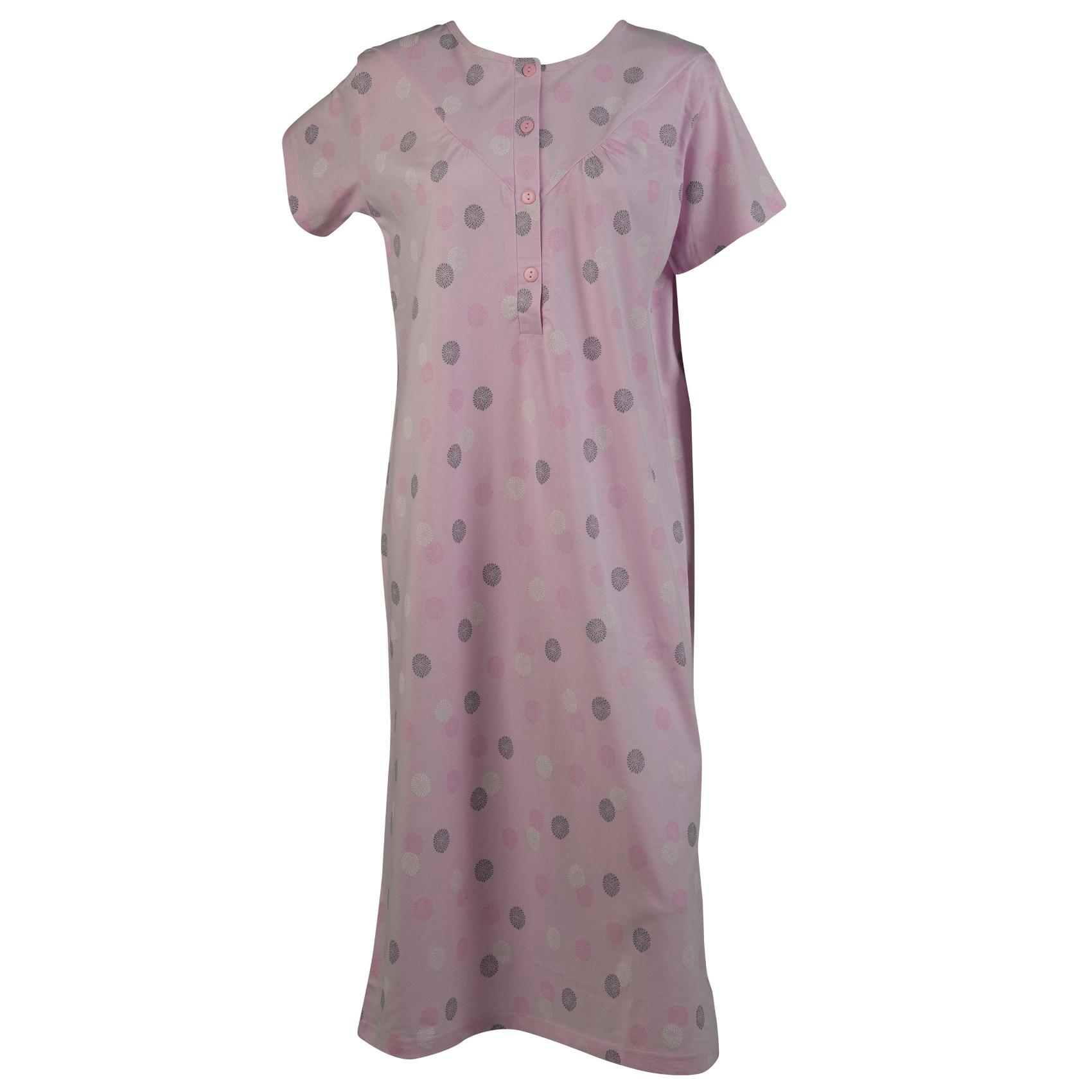 Womens Flower Nightdress Ladies Cotton Short Sleeve Nighty Nightwear Blue  Pink 842cdb71d