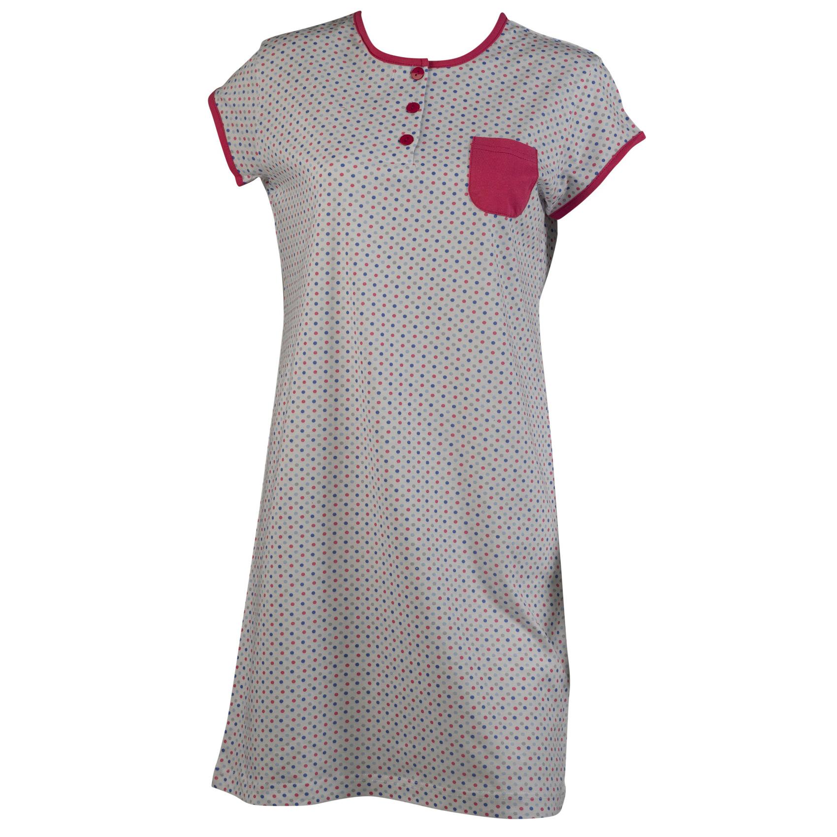 19c28e10d239 Ladies Short Sleeved Spotty Night Dress 100 Cotton Womens Polka Dot ...