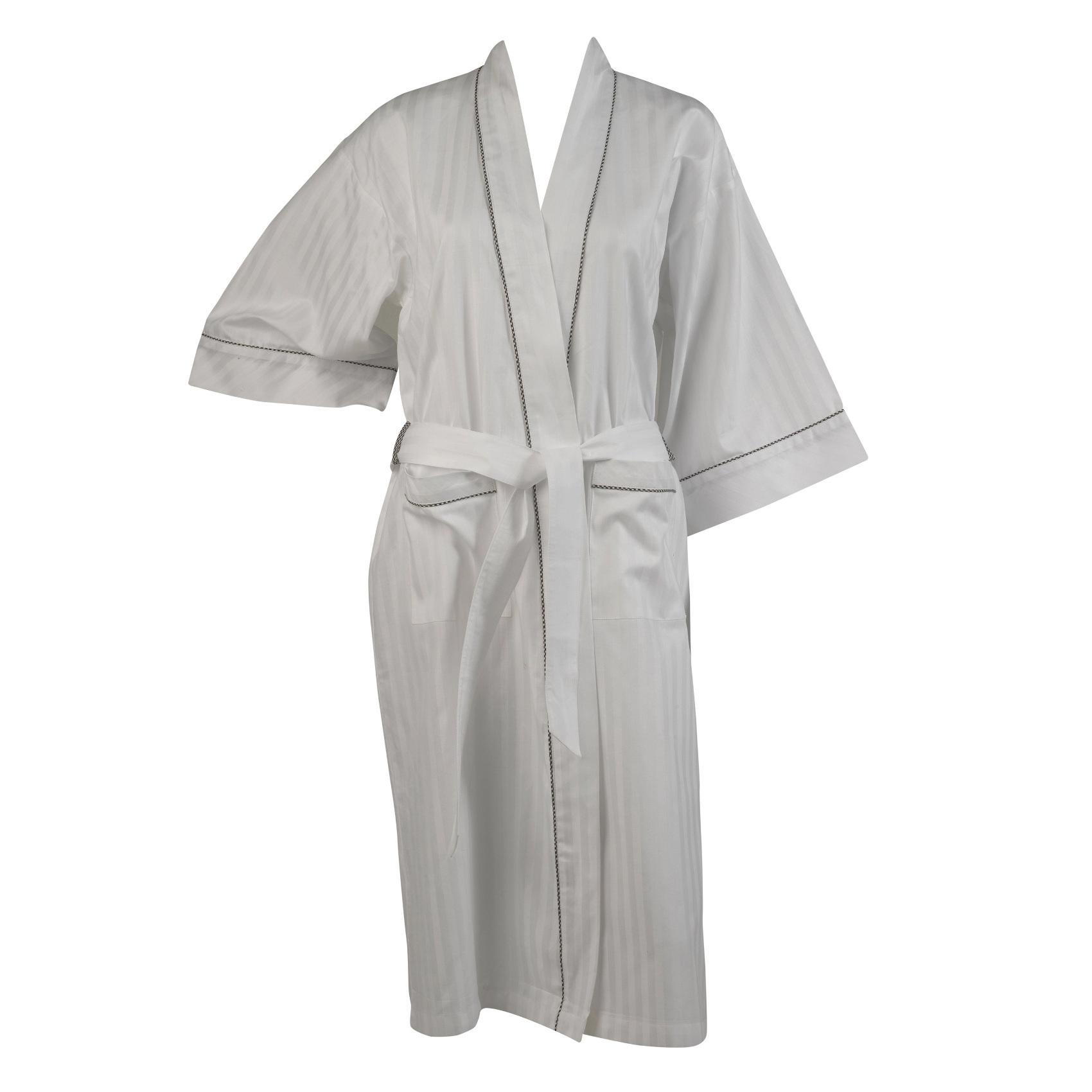 Womens Bath Robe 100% Cotton White Satin Stripe Dressing Gown Wrap ...
