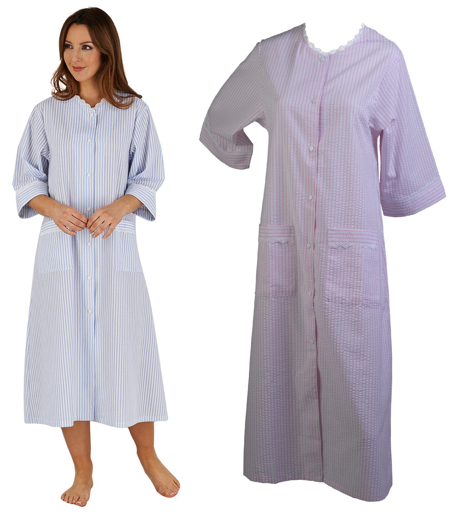 Womens Seersucker Stripe Bathrobe Ladies Button Poppers 3/4 Sleeve ...
