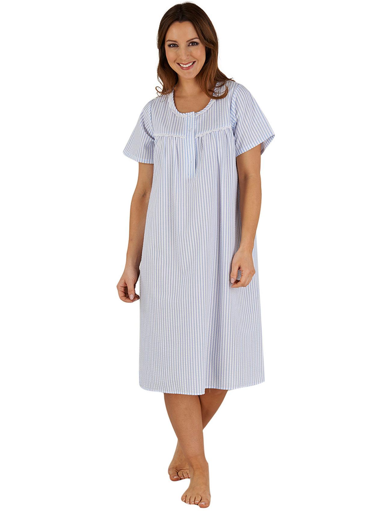 eca5699f97 Womens Night Dress Seersucker Stripe Short Sleeve Slenderella Lace Trim  Nighty