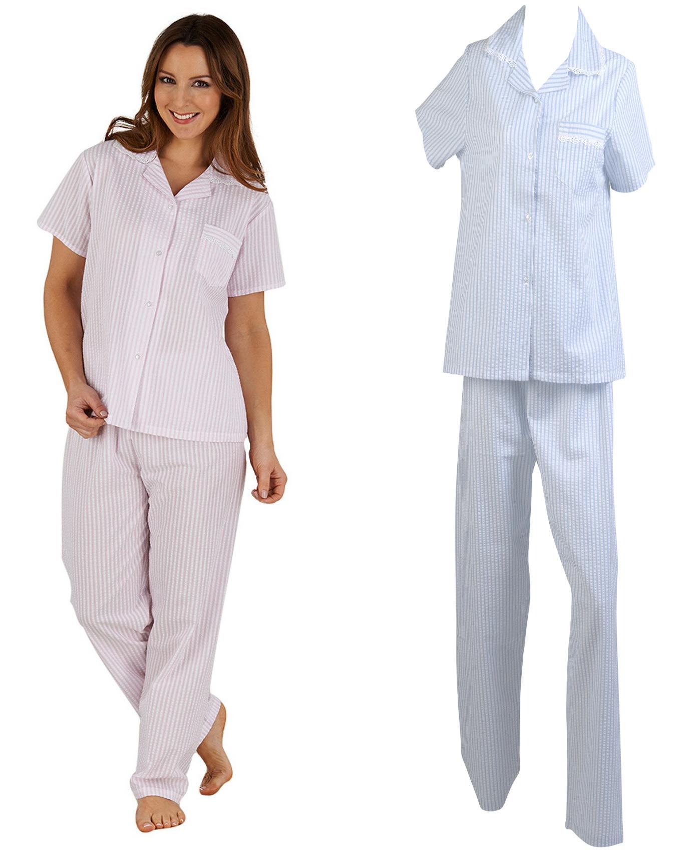 klassischer Stil von 2019 aktuelles Styling reich und großartig Details about Womens Seersucker Stripe Pyjamas Ladies Slenderella Lace Trim  Top & Bottoms PJs