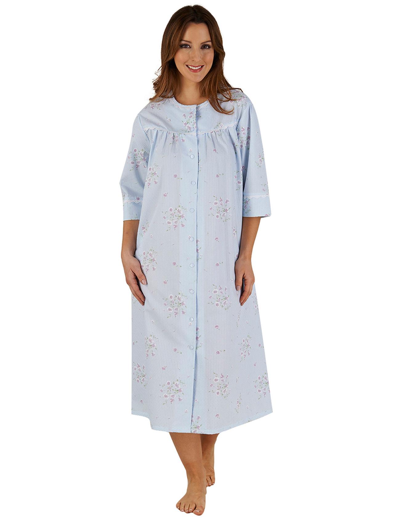 Womens Bathrobe Button Poppers Floral Seersucker Ladies 3/4 Sleeve ...