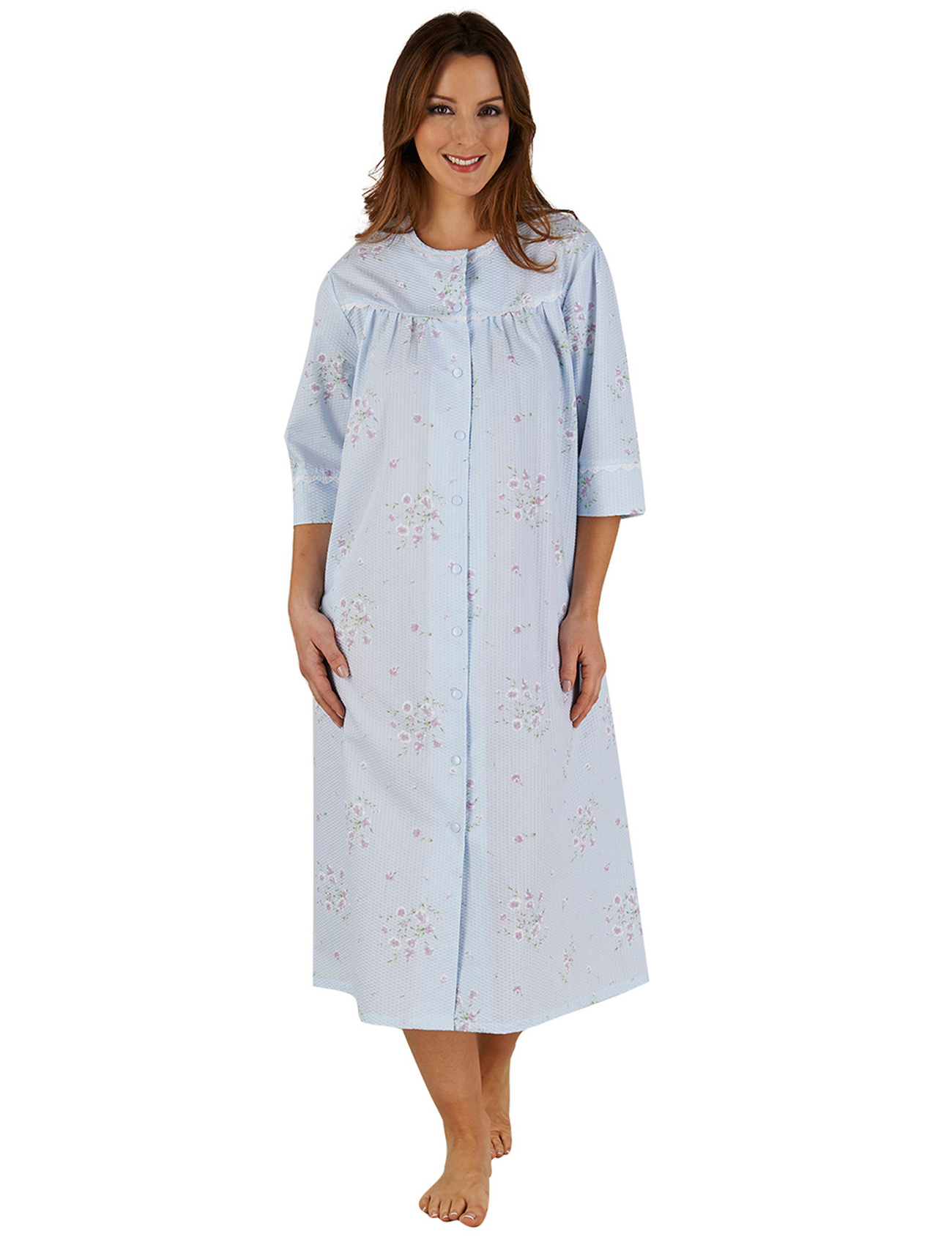 Womens Bathrobe Button Poppers Floral Seersucker Ladies 3 4 Sleeve Dressing  Gown 50fc8d978