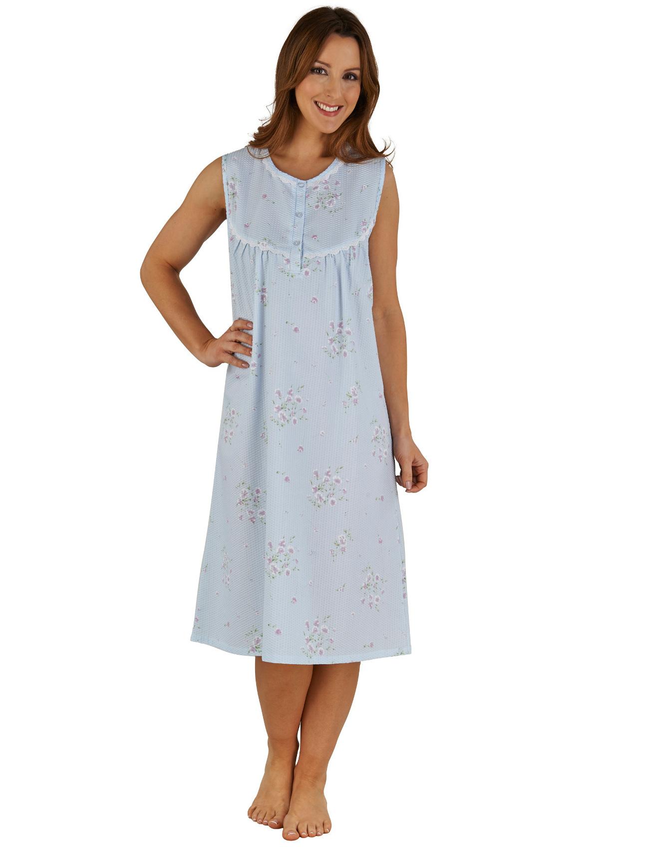 Night Dress Womens Floral Seersucker Sleeveless Slenderella Lace ...