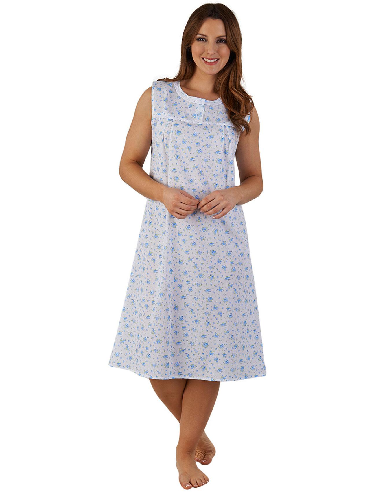 a2db8be1fb Womens Night Dress Floral Sleeveless Slenderella Ladies Lace Trim Flower  Nighty