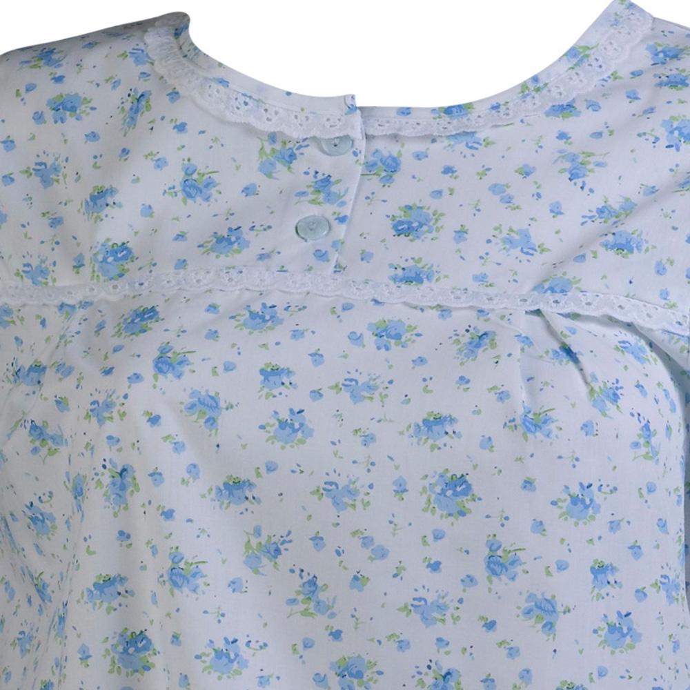 Ladies Slenderella Floral Nightdress Short Sleeve Lace Trim Nightie Poly Cotton