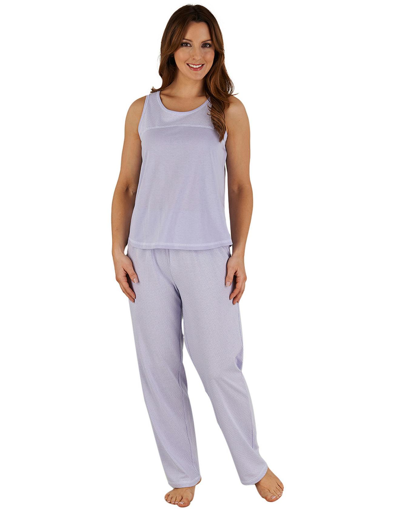 e73e69be0b Spotty Pyjamas Ladies Slenderella Sleeveless Polka Dot PJs Set Top ...