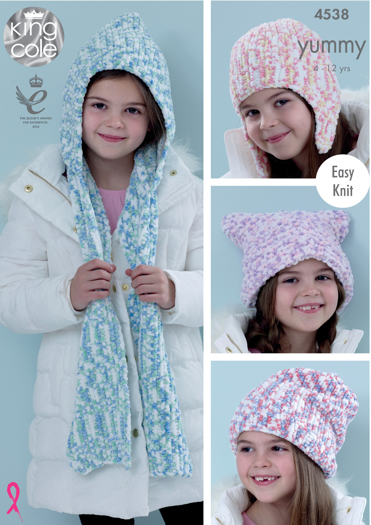 Easy knit hooded scarf hats girls knitting pattern king cole easy knit hooded scarf hats girls knitting pattern king cole yummy chunky 4538 bankloansurffo Gallery