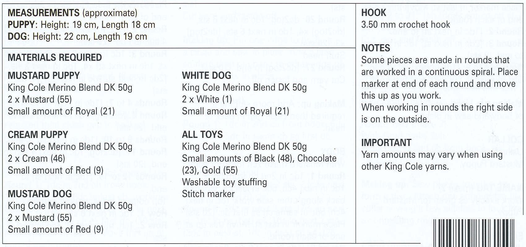 Amigurumi Crochet Double Knitting Pattern Dogs Puppies Merino DK ...