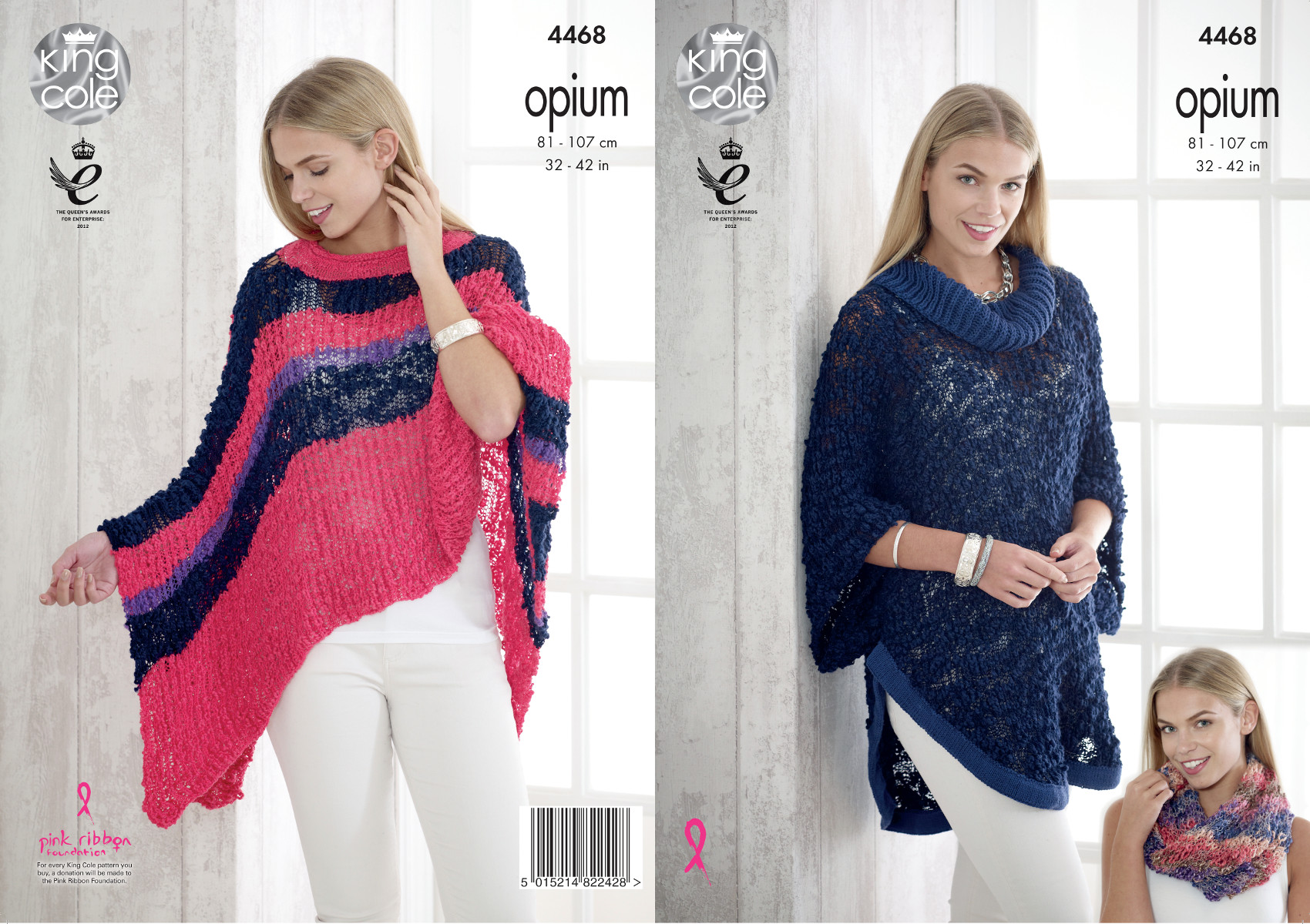 King Cole Womens Opium Knitting Pattern Ladies Cowl Neck Cape Poncho ...
