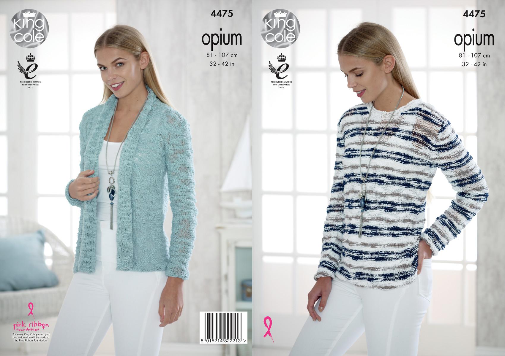 King Cole Ladies Sweaters Opium Knitting Pattern 4825 KCP-4825