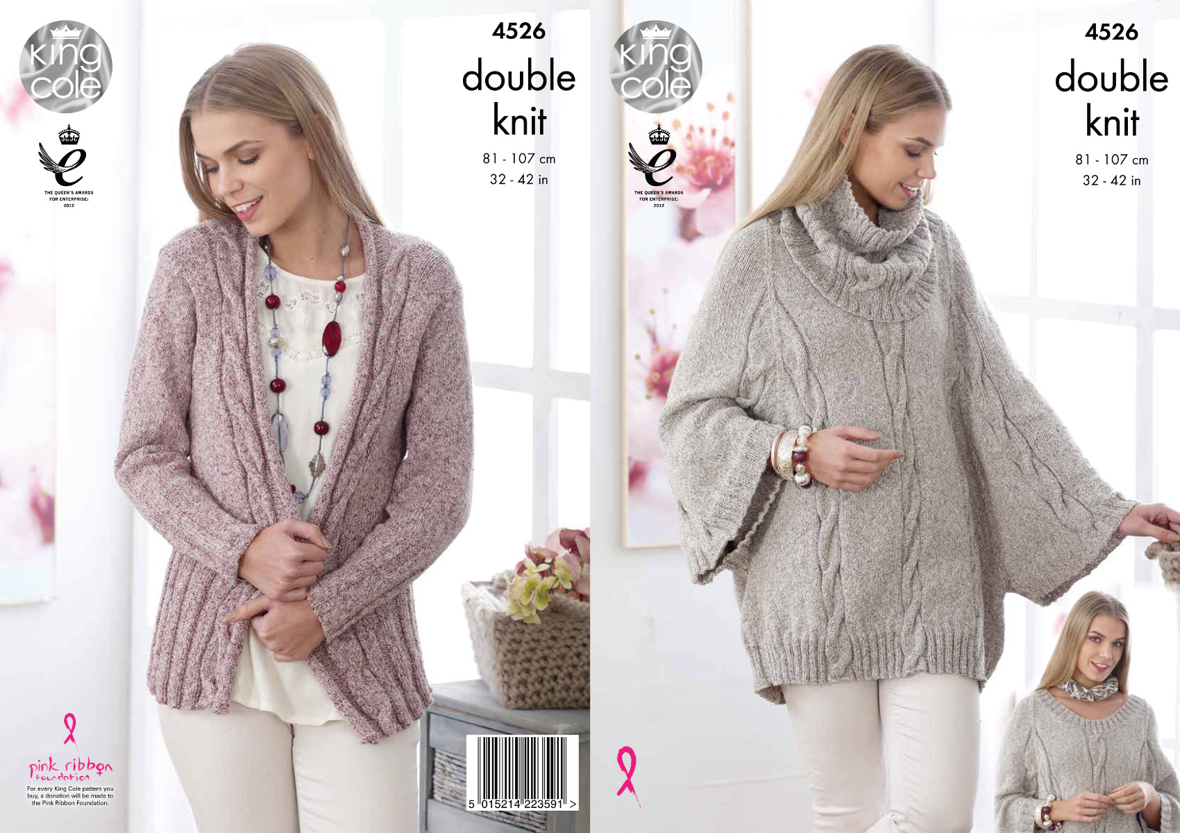 King Cole Double Knitting Pattern Ladies Cape Cowl Collar & Cardigan ...