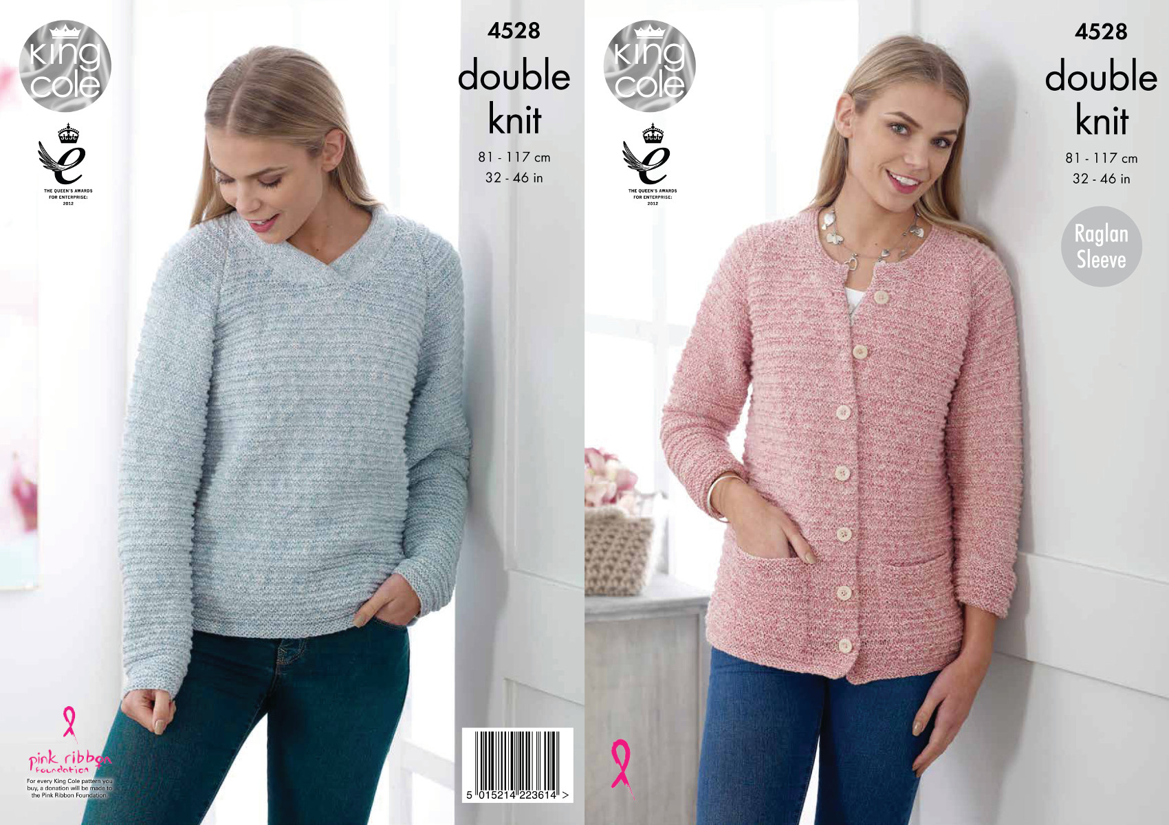 Knitting Pattern Raglan Cardigan : Womens Raglan Sleeve Sweater & Cardigan Knitting Pattern King Cole DK 452...