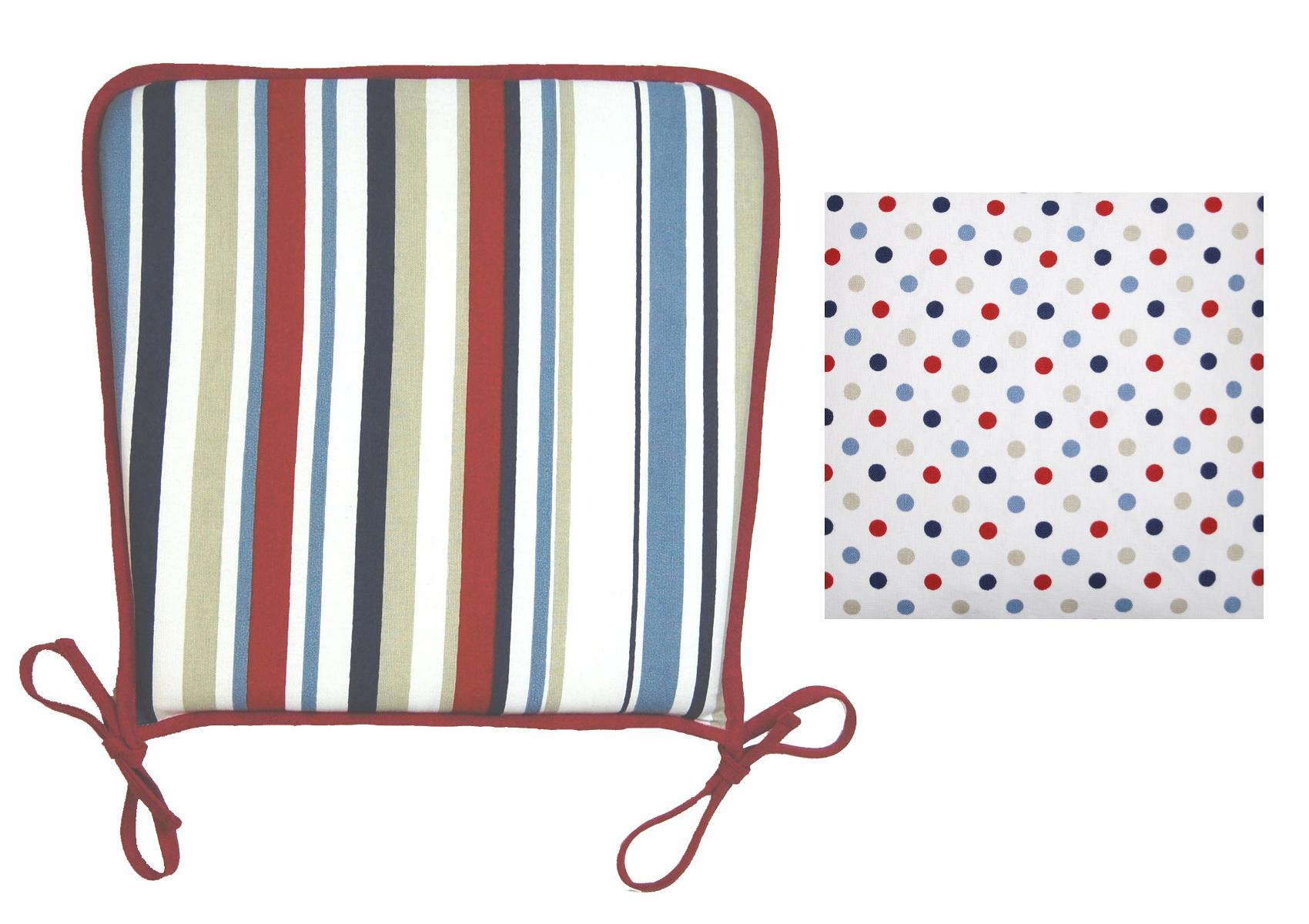 Striped Kitchen Seat Pad Polka Dot Reverse Cotton Garden Dining ...