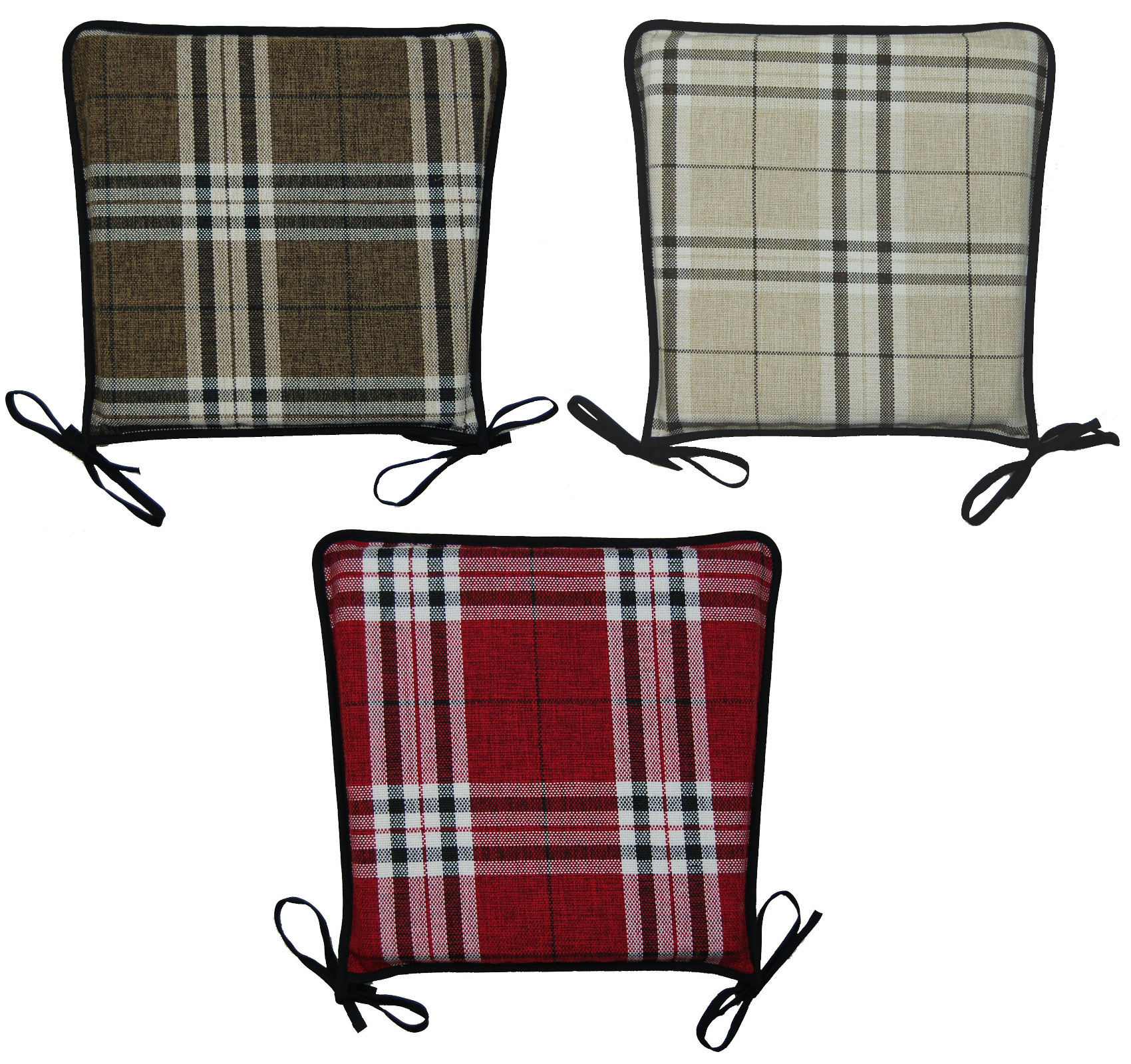 Kitchen Seat Pad 100% Polyester Tartan Check Garden Dining Square Chair  Cushion
