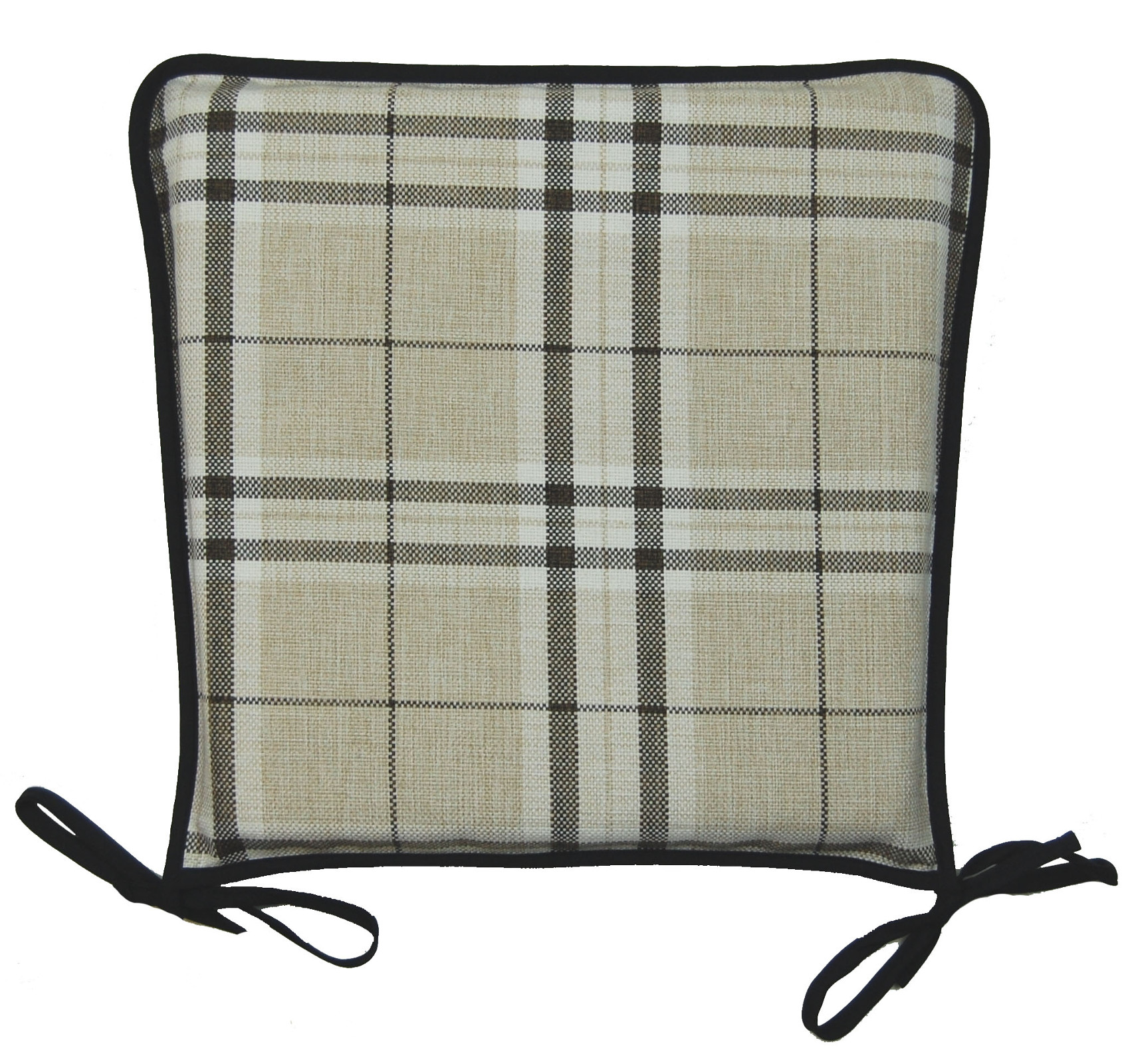 natural tartan check design square seat pad 100 polyester zipped