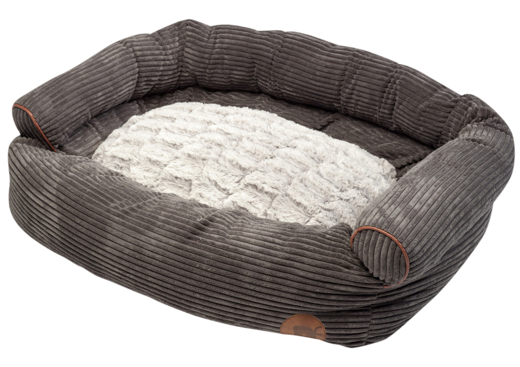 Superb Jumbo Dog Bed Petface Corduroy XL Sofa Style Pet Basket Faux Fur Cushion  Grey