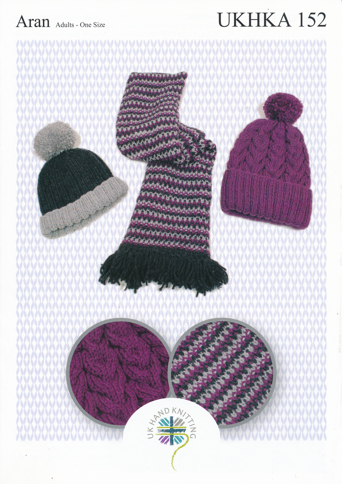 Ladies Ribbed Or Cabled Hats Tweed Scarf Knitting Pattern Aran