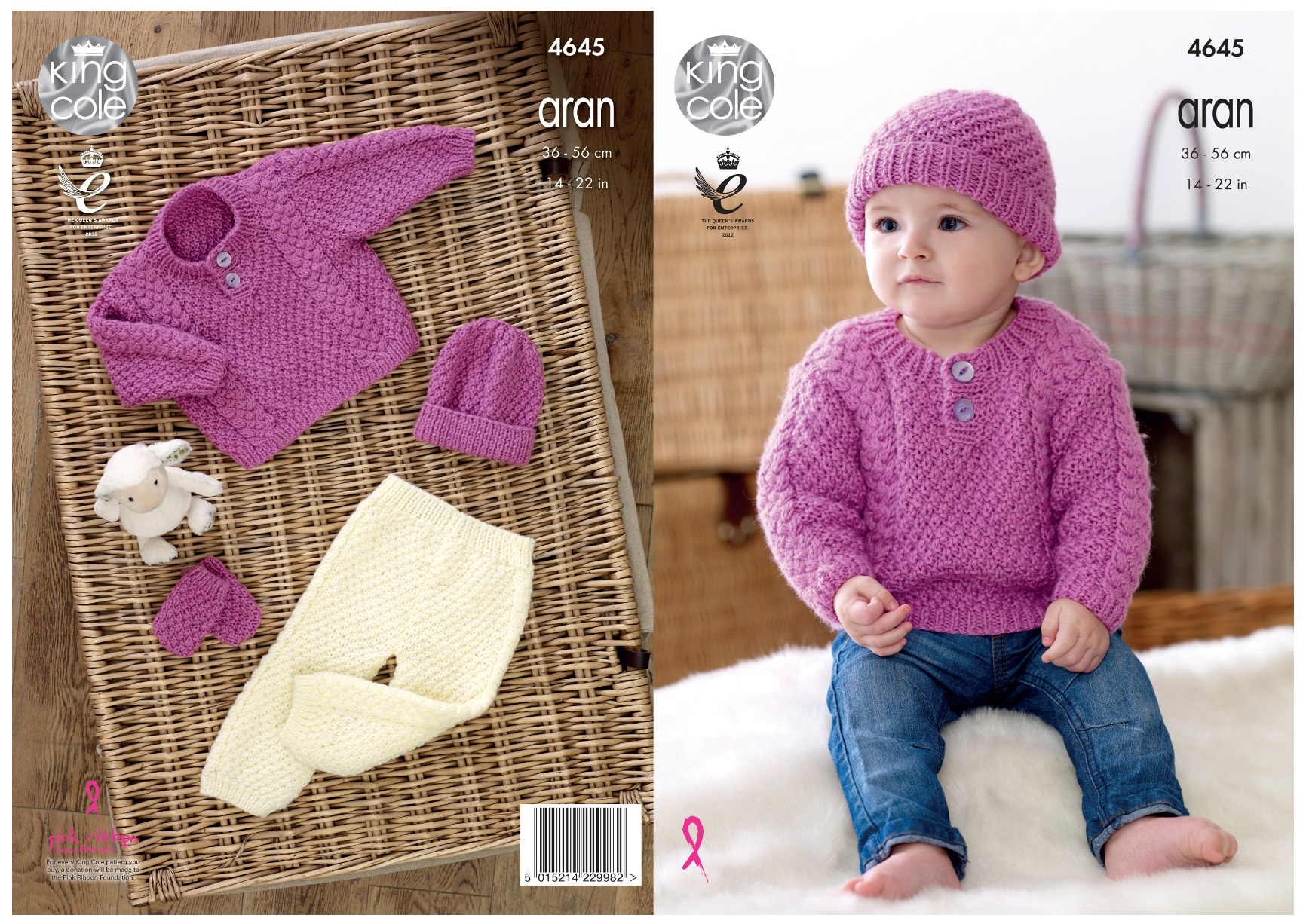 King Cole Childrens Aran Knitting Pattern 2905:Sweater,Jackets,Hat  /& Mitts