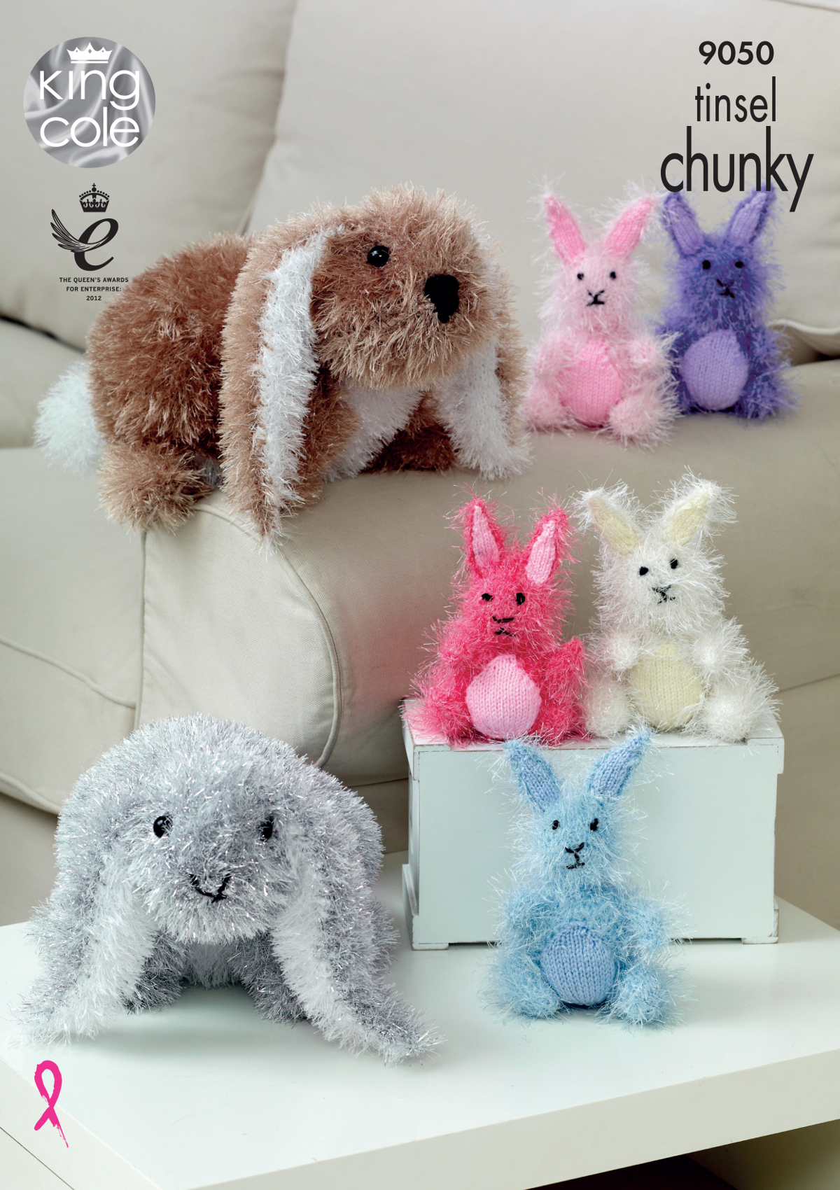 Details about Tinsel Chunky Knitting Pattern Small or Large Bunny Rabbit Toys King Cole 9050