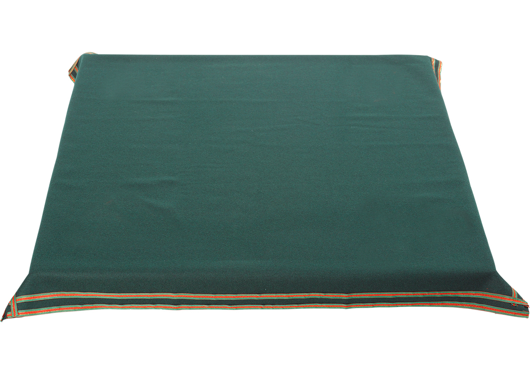 This gaming table cloth is green with a red and gold striped edge and is perfect for card games such as bridge and poker