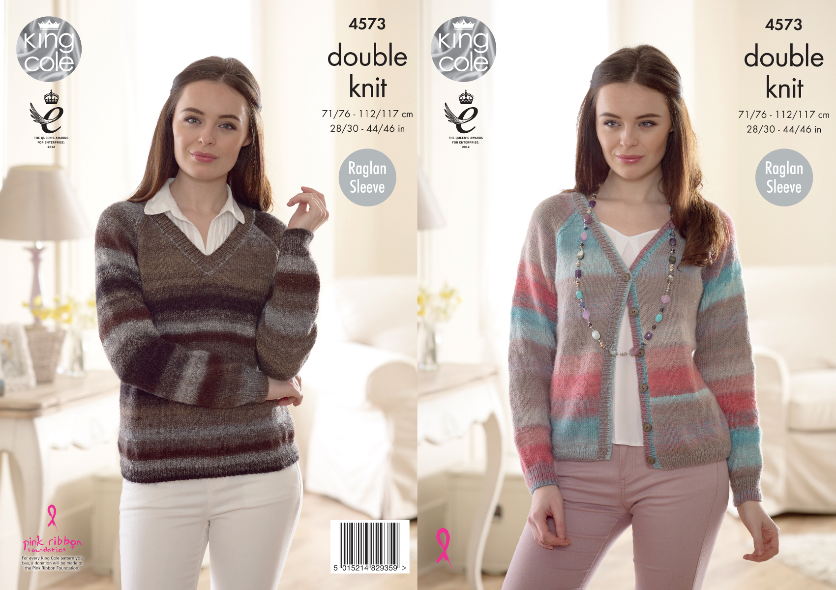 King Cole Ladies Double Knitting DK Pattern Raglan Sleeve Cardigan Sweater 4685