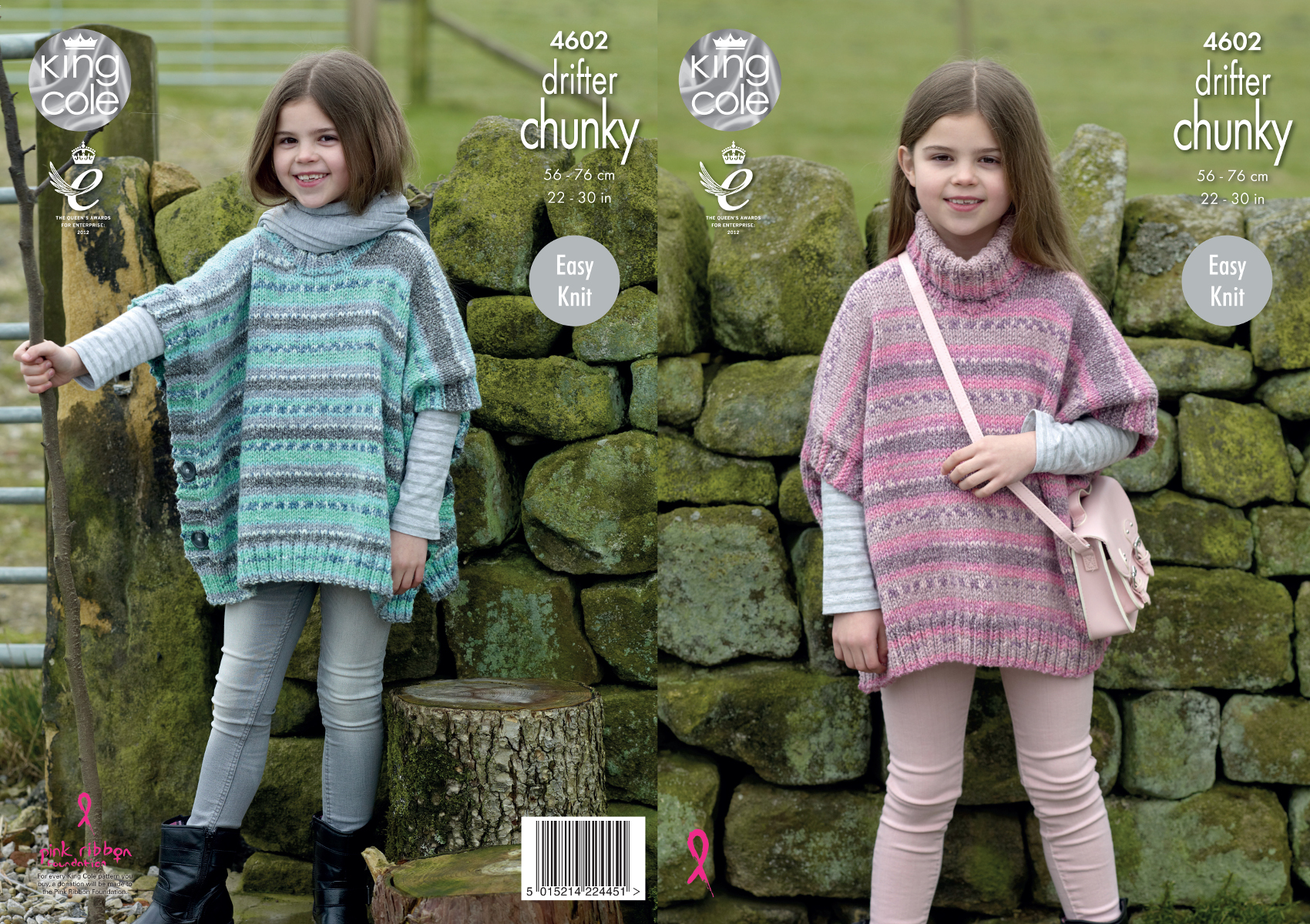 King Cole Girls Chunky Knitting Pattern Easy Knit Round Or Polo Neck