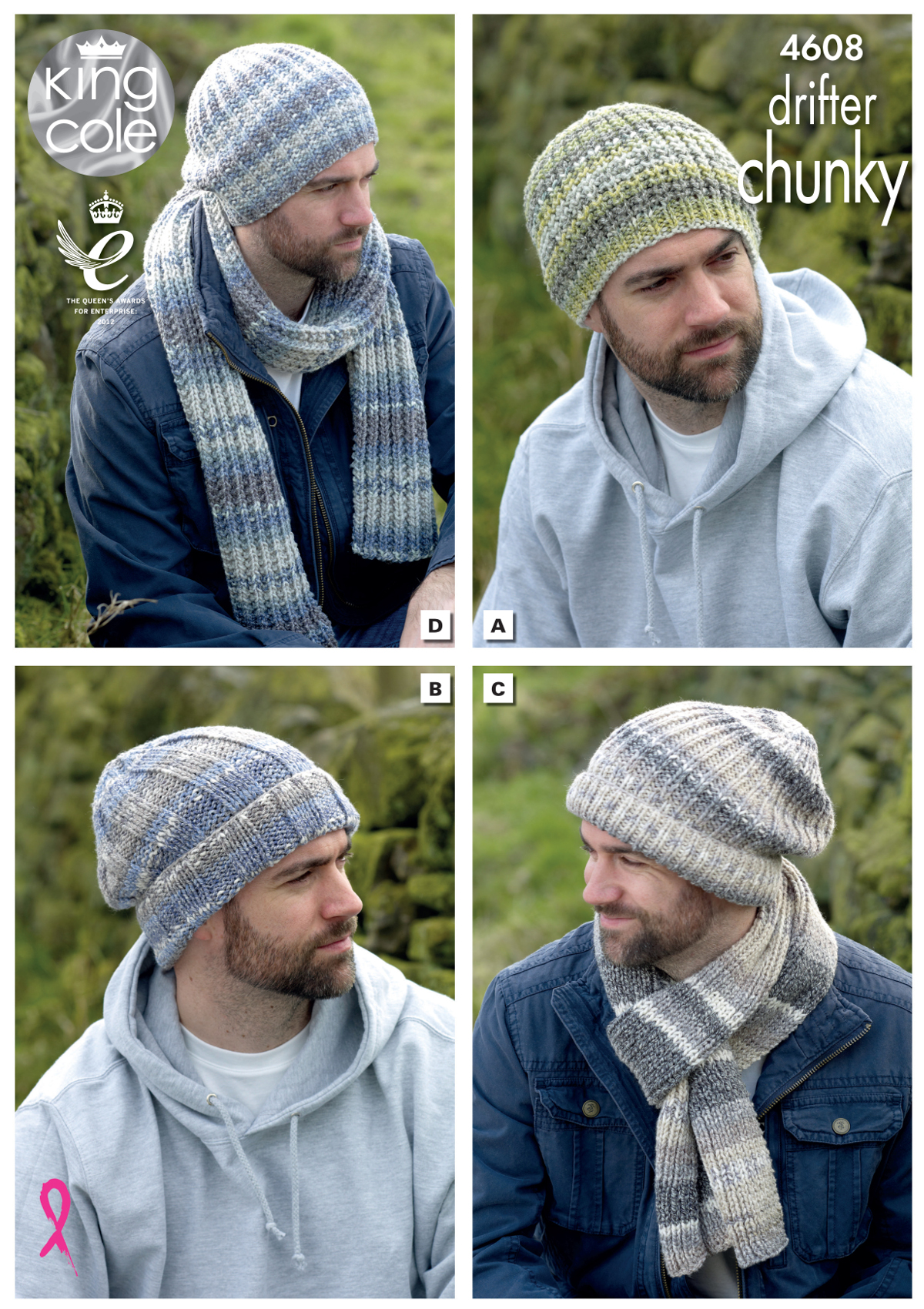 Mens Hats & Scarves Knitting Pattern Winter Accessories King Cole ...