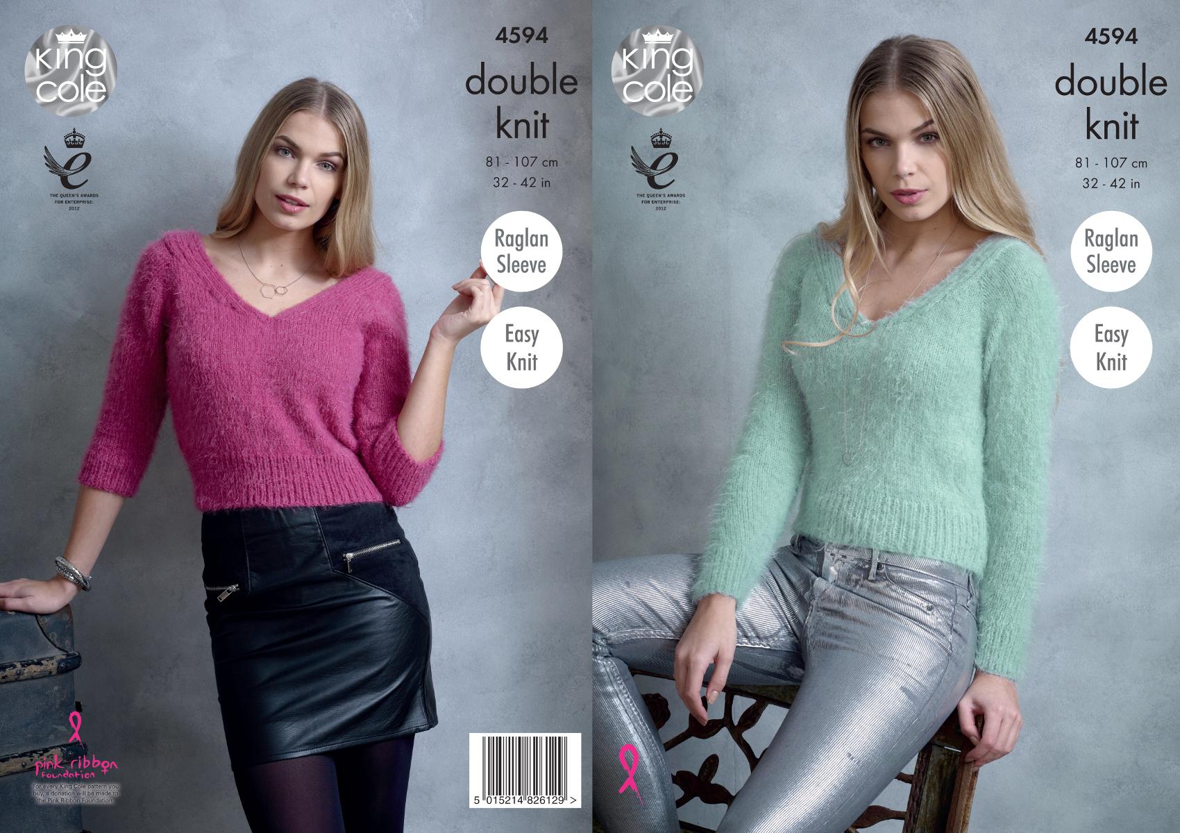 King Cole Ladies Double Knitting DK Pattern Easy Knit Jumper /& Cardigan 4342