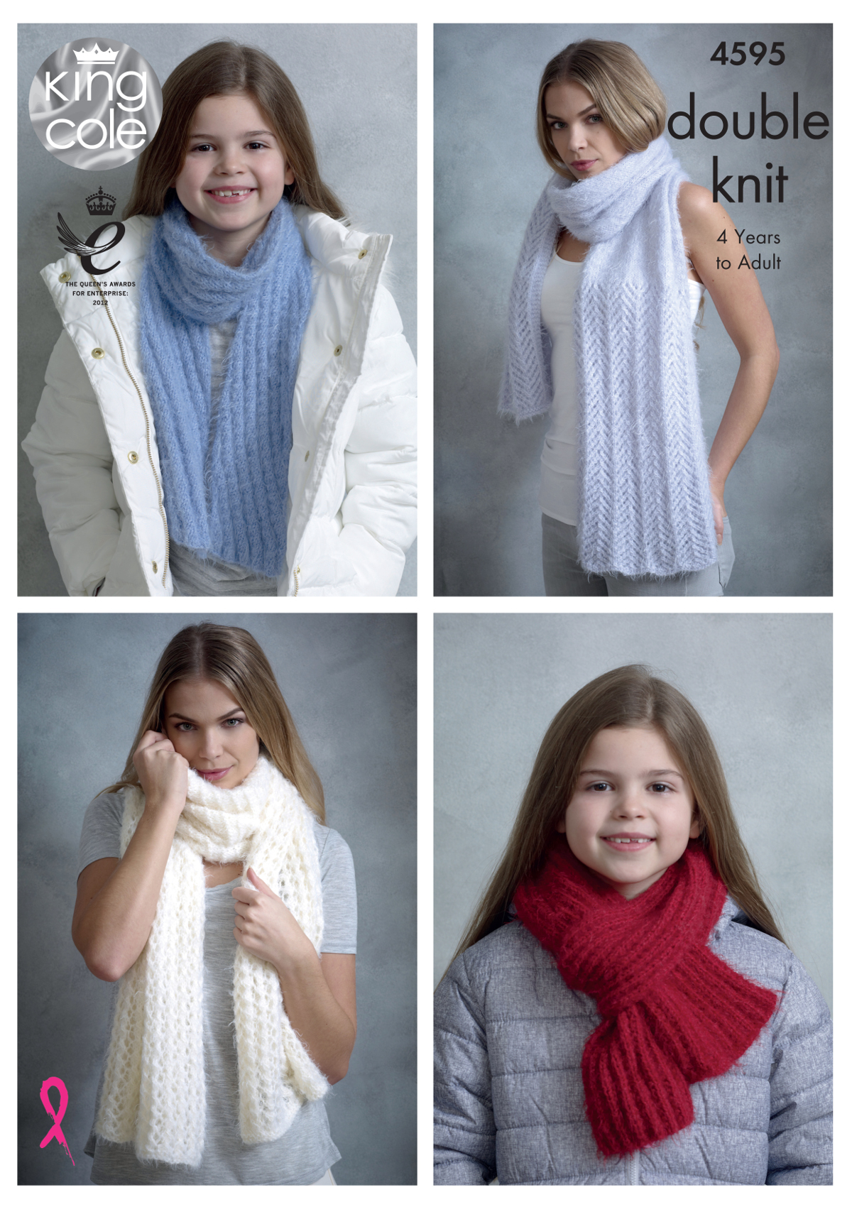Womens Girls Shawls Or Scarves Knitting Pattern King Cole Double