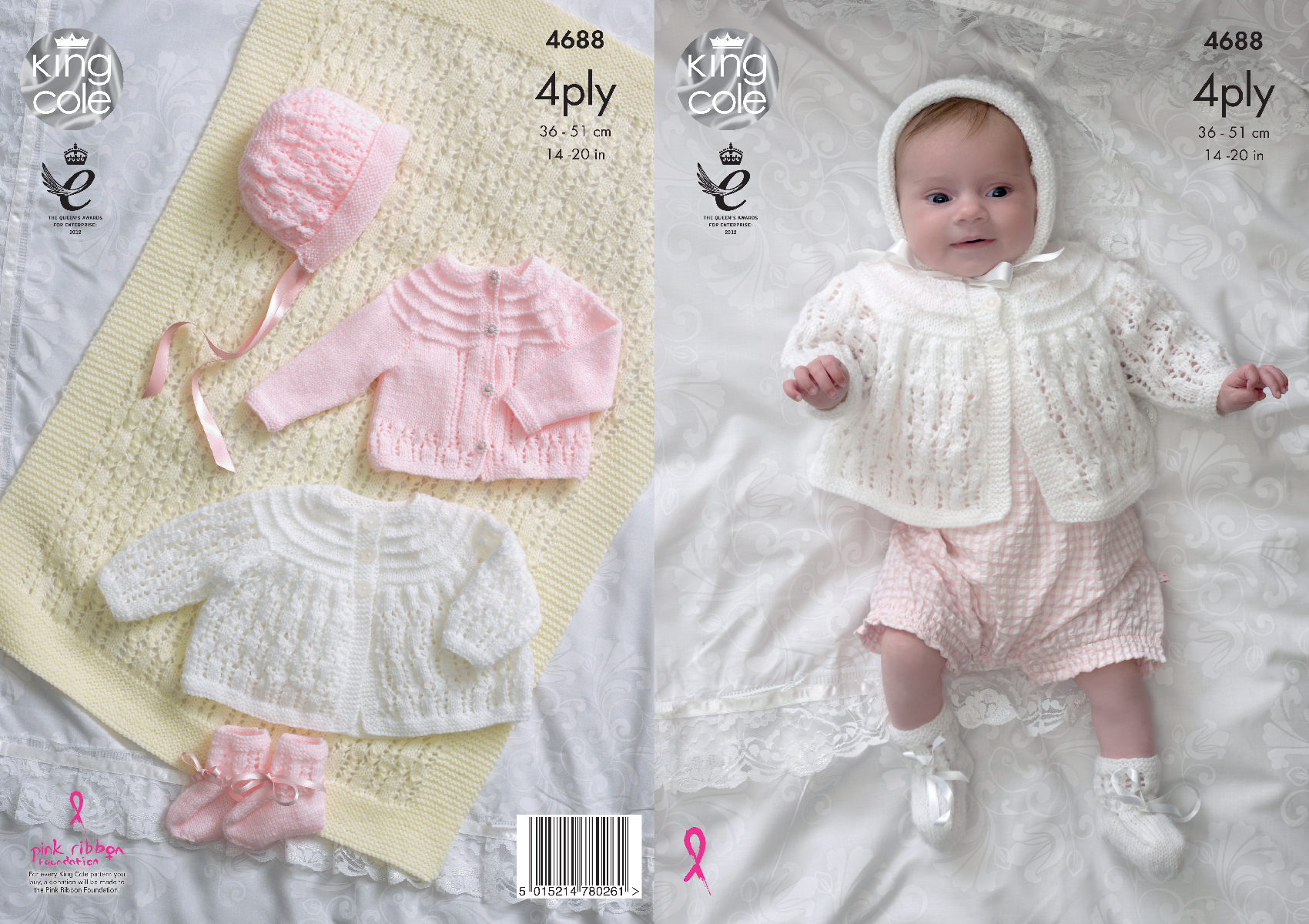 Knitting Pattern Baby Matinee Coat Cardigan Bonnet Bootees King Cole ...