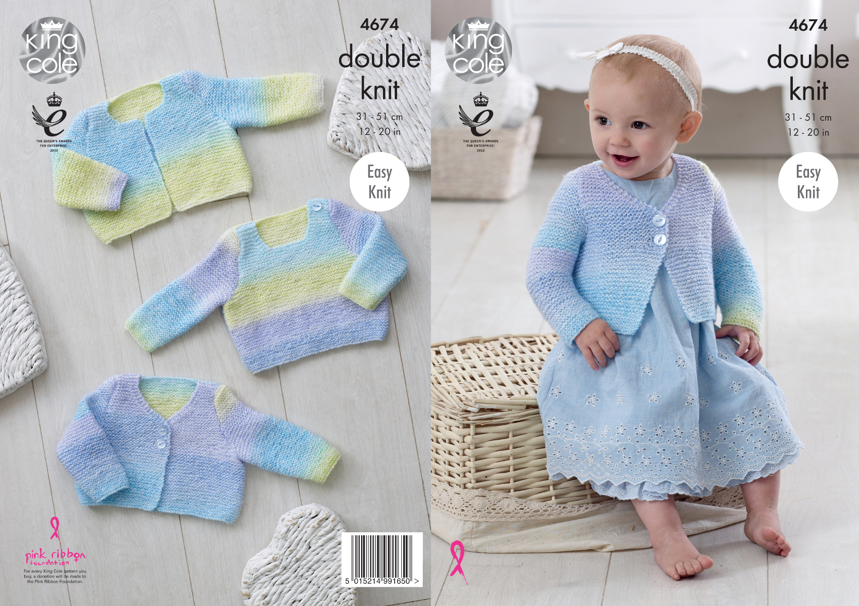 Easy Knit Double Knitting Pattern Baby Sweater & Cardigans King Cole ...