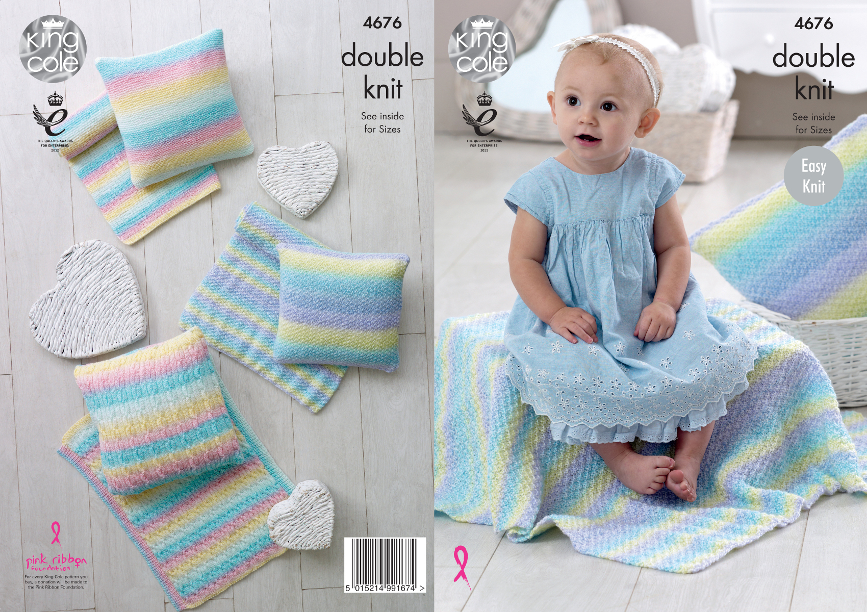 Easy Knit Double Knitting Pattern Baby Blankets & Cushions King Cole ...