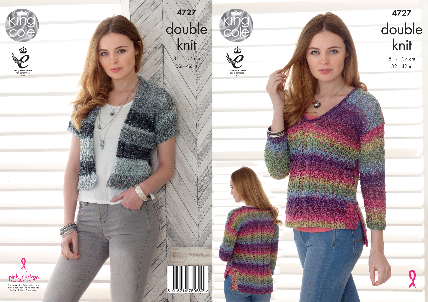 7aeb62c3537f King Cole Ladies DK Knitting Pattern Lacy Split Hem Jumper Cropped ...