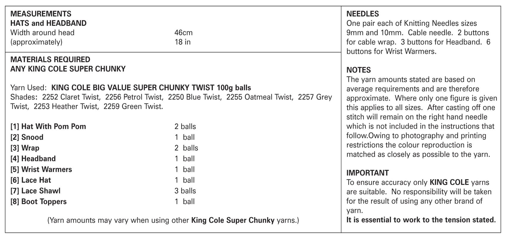 Ladies Super Chunky Knitting Pattern King Cole Hats Headband Shawl ...