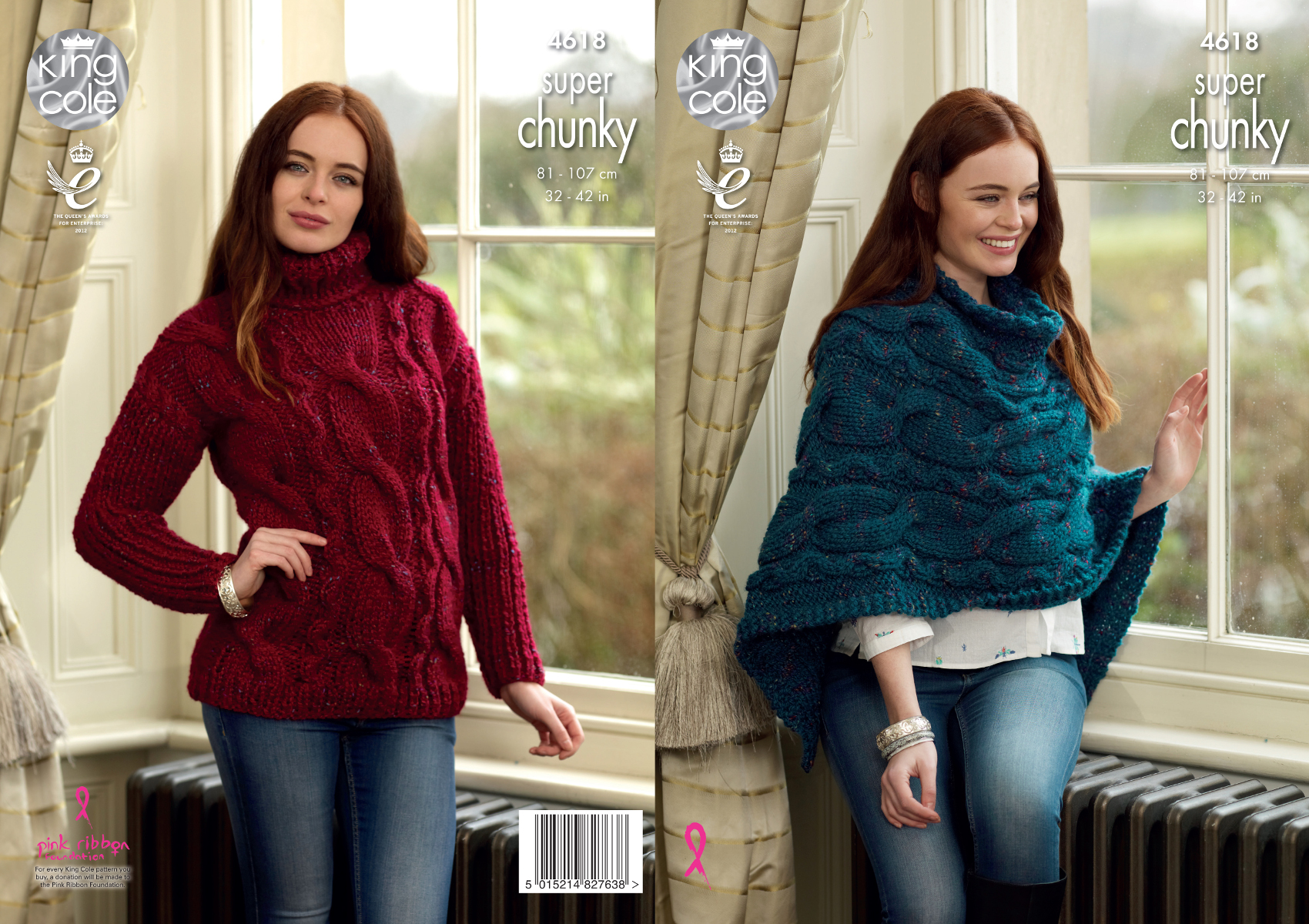 5fbc6d558 Details about Ladies Super Chunky Knitting Pattern King Cole Cabled Poncho    Sweater 4618