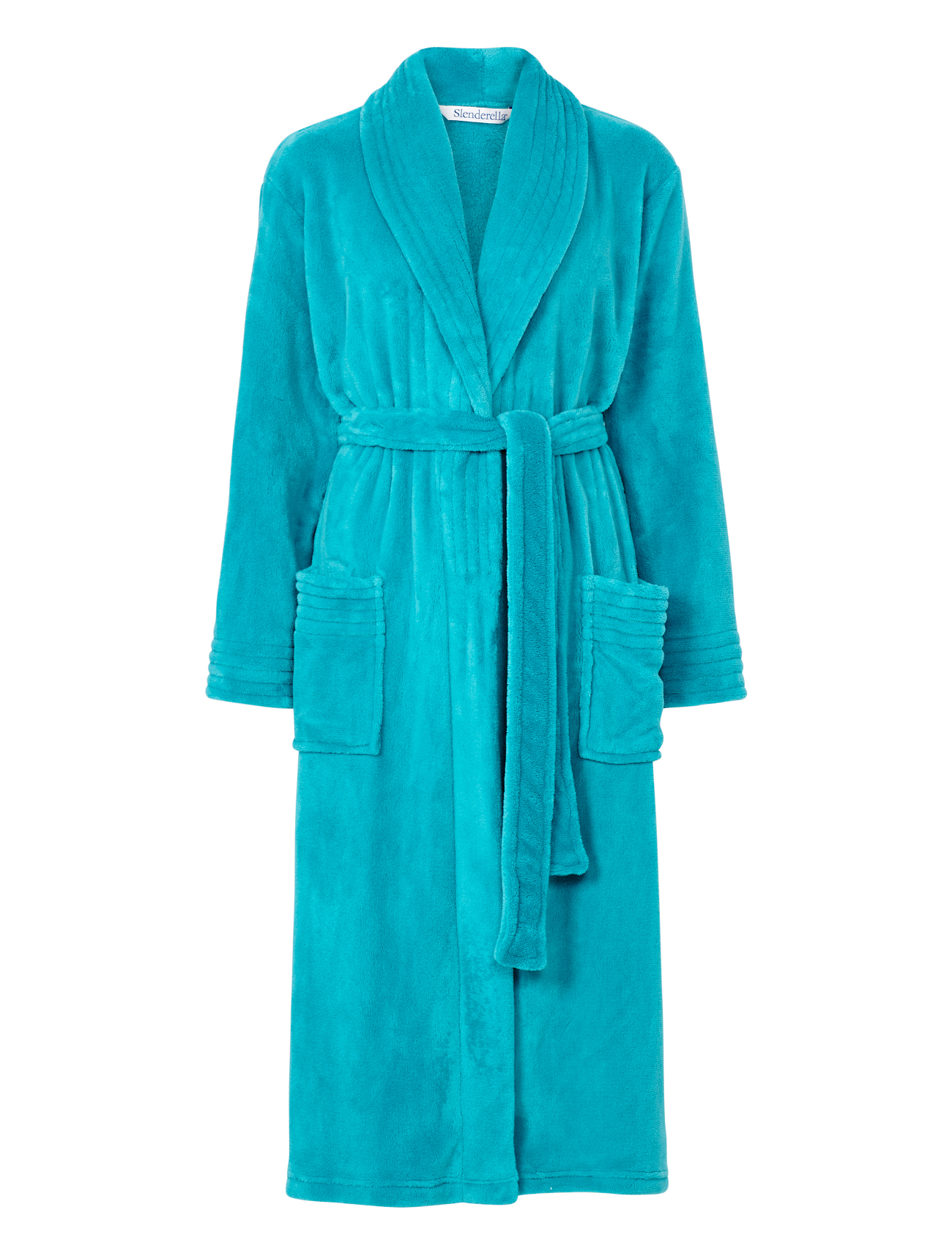 Dressing Gown Womens Wrap Around Soft Fleecy Plain Bath Robe Pockets ...