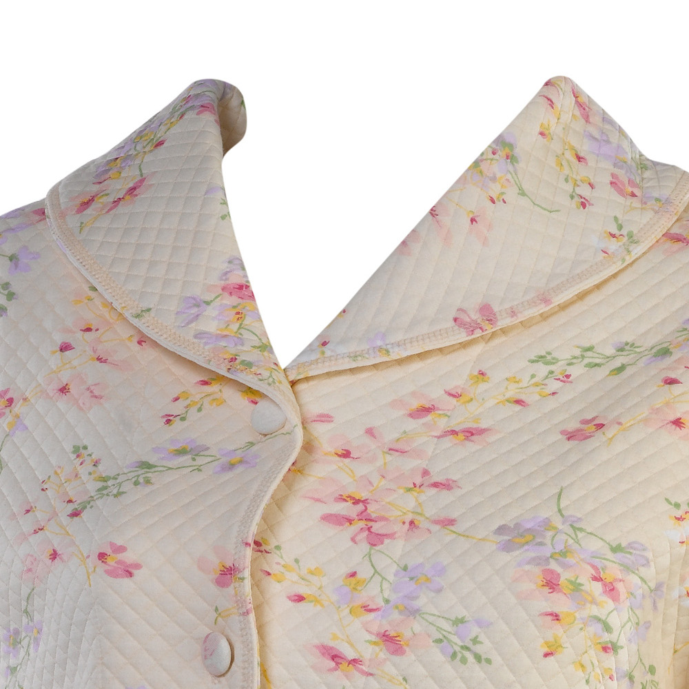 Slenderella Ladies Shawl Collar Button Floral Mock Quilted Bed Jacket House Coat