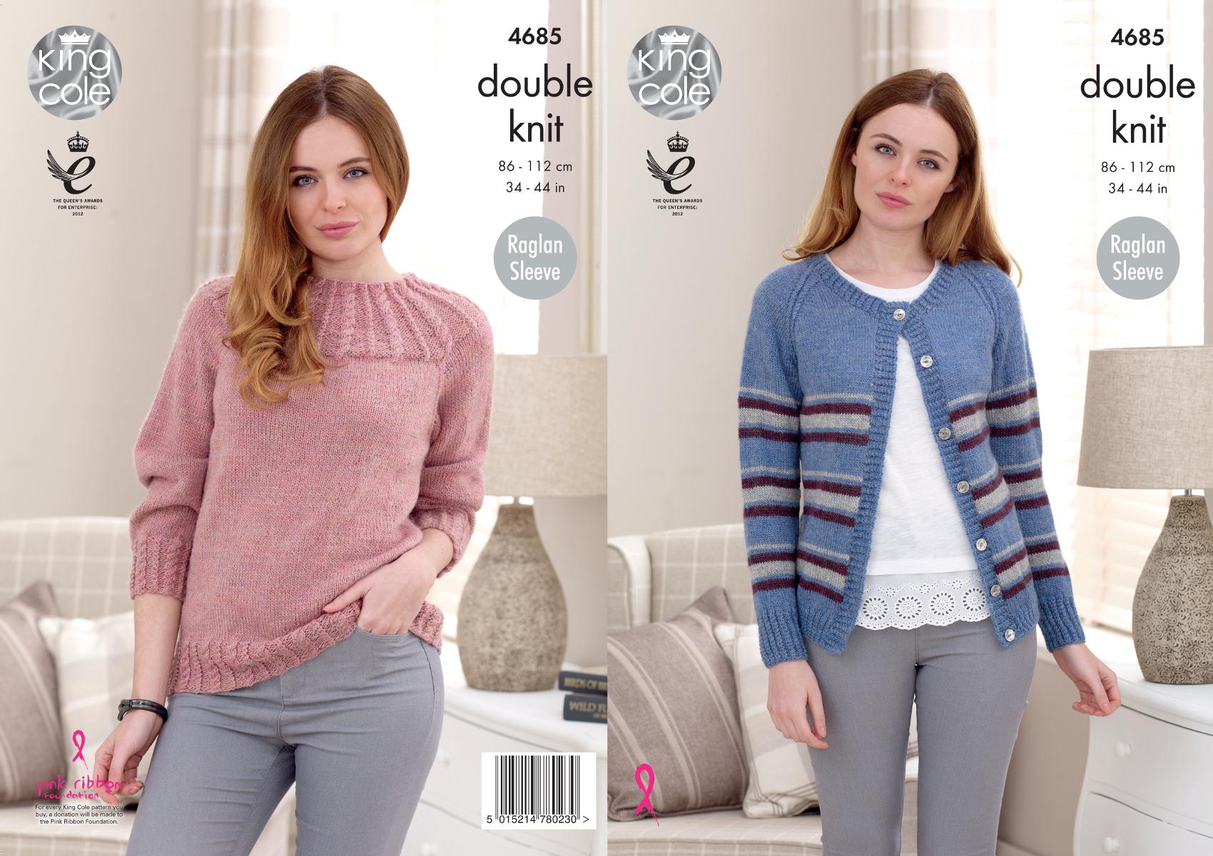 Ladies Raglan Sleeve Jumper & Cardigan Knitting Pattern Womens King ...