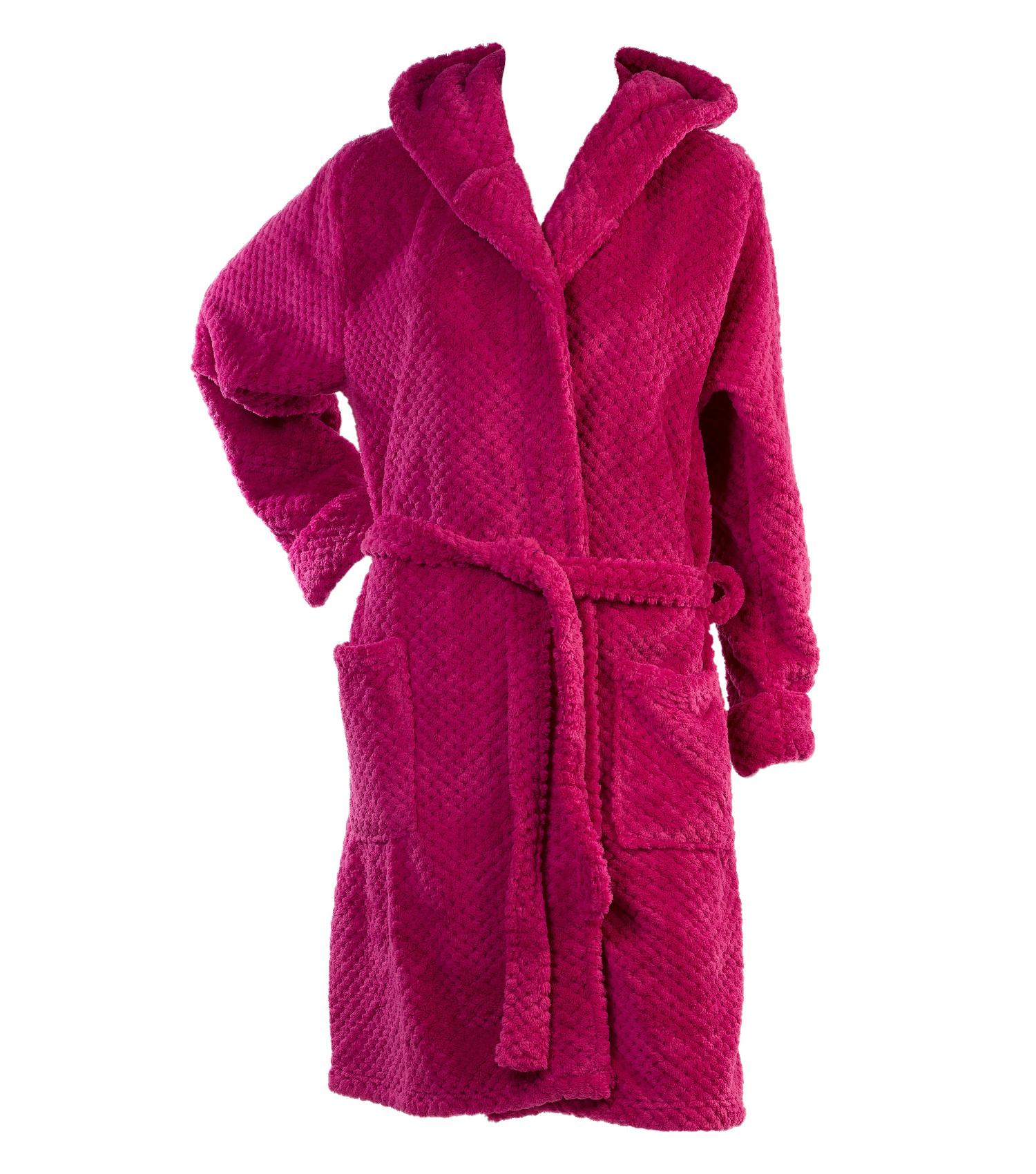 Dressing Gown Womens Hooded Bath Robe Soft Waffle Fleece Slenderella ... c4f5ad2e6